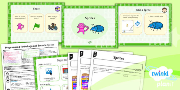 Computing: Programming Turtle Logo and Scratch: Sprites Year 2 Lesson Pack 6