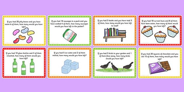 ks1 subtraction word problem challenge cards challenge cards. Black Bedroom Furniture Sets. Home Design Ideas
