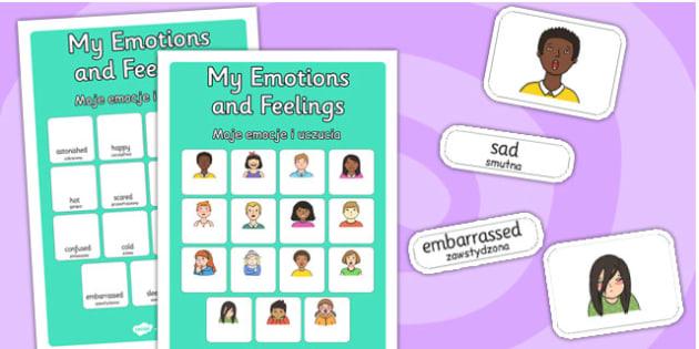 My Emotions and Feelings Vocabulary Matching Mat Polish Translation - polish