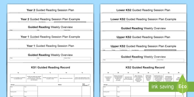Guided Reading Planning Templates - guided reading, reading, guided, group, planning, plan, assessment, proforma, whole-class reading, t