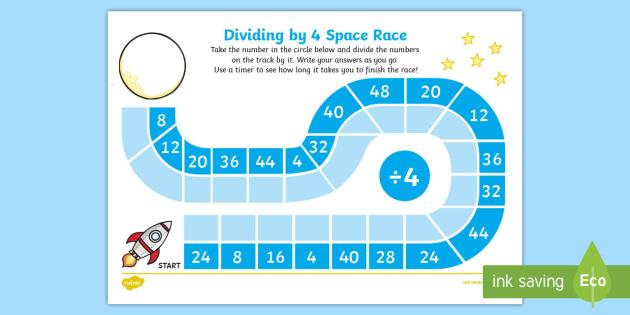 Dividing by 4 Space Race Activity Sheet - Maths, Divide, Dividing, Race