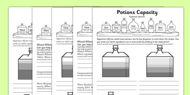 KS1 Potions Capacity Activity Polish Translation - polish, problem solving, find all possibilities