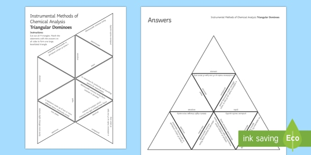 Instrumental Methods of Chemical Analysis Tarsia Triangular Dominoes - Tarsia, gcse, chemistry, instrumental methods, analysis, chemical analysis, spectroscope, flame emis, plenary activity