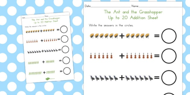 The Ant and the Grasshopper Up to 20 Addition Sheet - numeracy