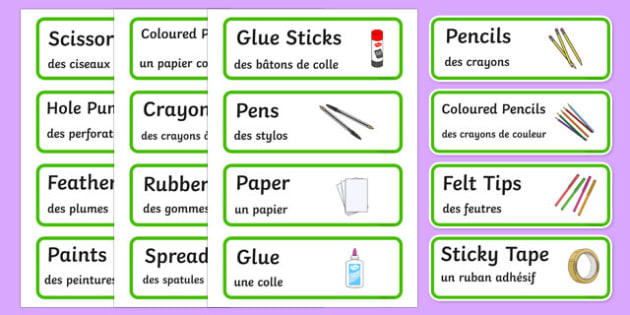 Creative Area Resource Labels French Translation-French-translation
