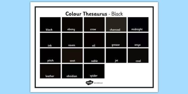 Colour Thesaurus Word Mat Black - colour thesaurus, colour, thesaurus, word mat, word, mat, black