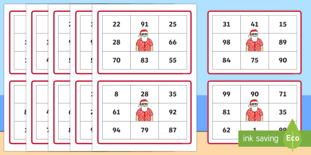 New Zealand Christmas Numbers to 100 Bingo