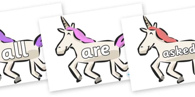 Tricky Words on Unicorns - Tricky words, DfES Letters and Sounds, Letters and sounds, display, words