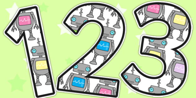 Robot Themed A4 Display Numbers - robot, display, numbers, number