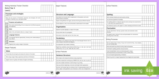 New Zealand End of Year 4 Writing Individual Tracker Checklist - Assessment, Writing, Literacy, End of Year 4