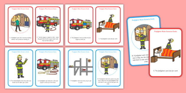 Firefighter Rules Scenario Cards - Firefighter, fire, rules, safety, danger, listening equipment, ladders, hose, fire engine, Uniform, protective clothing,. helmet, boots, jacket