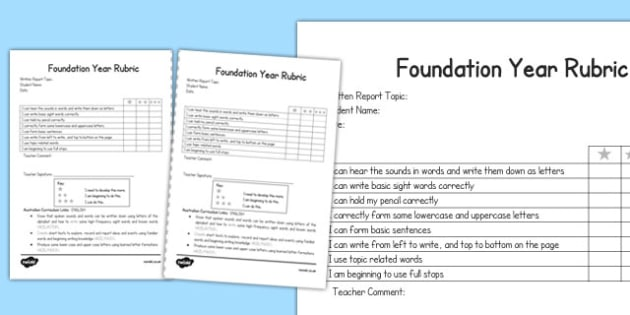 Written Report Rubric Foundation - australia, written, report, rubric, foundation