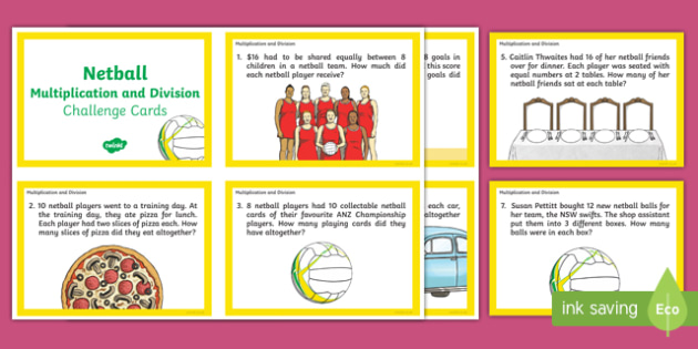 Year 3-4 Netball Division and Multiplication Maths Challenge Cards-Australia
