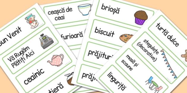 La Cofetarie, joc de rol, cartonase cu imagini si cuvinte, Romanian