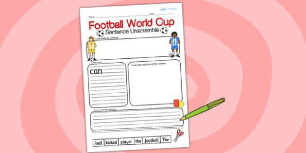 Football World Cup Sentence Unscramble - football, world cup
