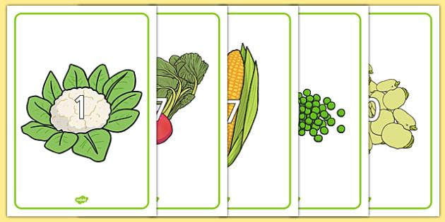 Numbers 0-30 on Vegetables - numbers, 0-30, vegetables, food, healthy