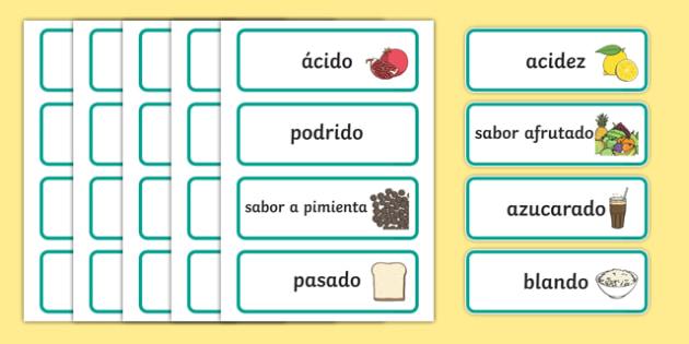 Taste Word Cards-Spanish