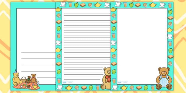 Teddy Bears Picnic Page Borders - teddy bears, bears, borders