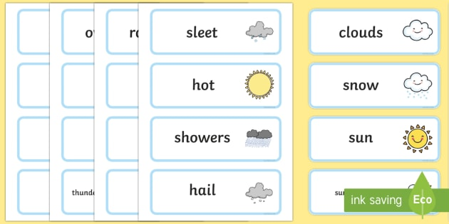Weather Word Cards - seasons, weather, flashcards, visual aids