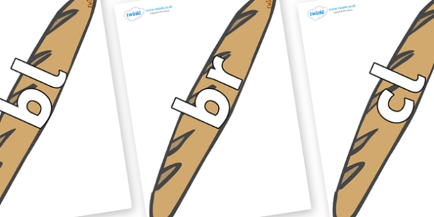 Initial Letter Blends on Baguettes - Initial Letters, initial letter, letter blend, letter blends, consonant, consonants, digraph, trigraph, literacy, alphabet, letters, foundation stage literacy