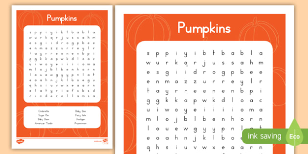 Pumpkins Word Search