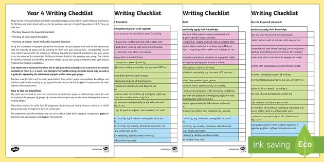 Year 4 Writing Checklist - Y4, Year 4, writing targets, writing assessment, writing checklist, writing tick list, writing tickl