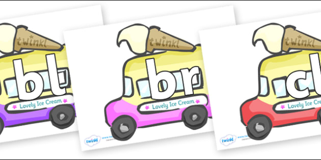 Initial Letter Blends on Ice Cream Vans - Initial Letters, initial letter, letter blend, letter blends, consonant, consonants, digraph, trigraph, literacy, alphabet, letters, foundation stage literacy
