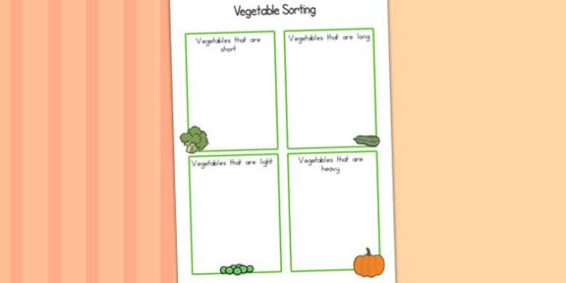 Vegetable Sorting Worksheet - fruit, veg, healthy eating, food