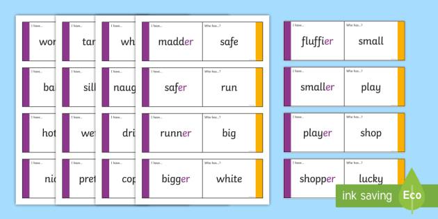 Suffix Loop Cards er - suffix loop cards, suffixes, suffix, suffix er, er, words ending in er, suffix activities, ks2 literacy, ks2 english, ks2
