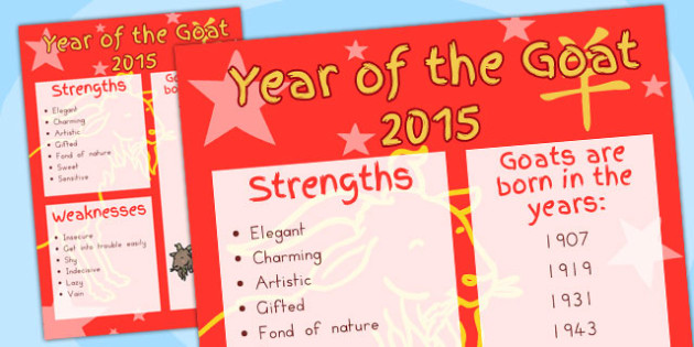 Chinese New Year Year of the Goat Display Poster - australia