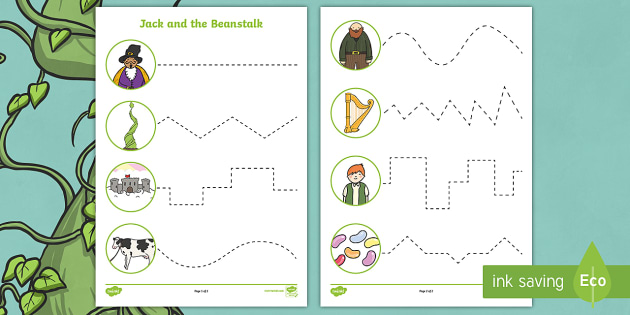 Jack and the Beanstalk Themed Cutting Skills Activity Sheets - Worksheets, Jack, traditional tale, fine motor, motor skills, scissors, cut, control, fairy tale, gi