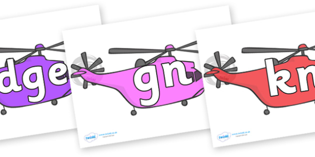 Silent Letters on Helicopter - Silent Letters, silent letter, letter blend, consonant, consonants, digraph, trigraph, A-Z letters, literacy, alphabet, letters, alternative sounds