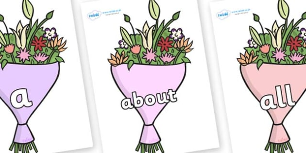 100 High Frequency Words on Bouquets - High frequency words, hfw, DfES Letters and Sounds, Letters and Sounds, display words