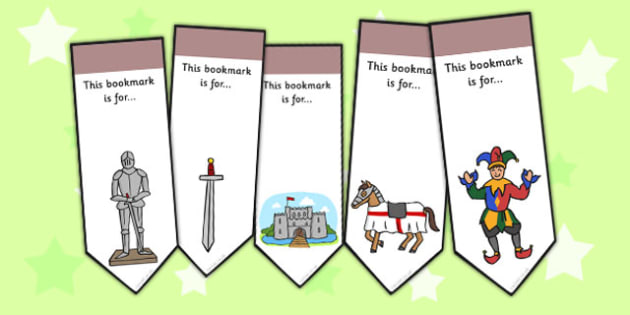 Castles and Knights Editable Bookmarks - castle, knight, bookmark
