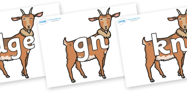 Silent Letters on Medium Billy Goats - Silent Letters, silent letter, letter blend, consonant, consonants, digraph, trigraph, A-Z letters, literacy, alphabet, letters, alternative sounds