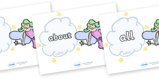 100 High Frequency Words on Fairies - High frequency words, hfw, DfES Letters and Sounds, Letters and Sounds, display words
