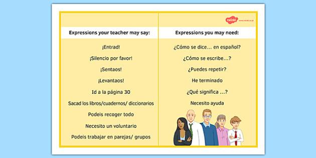 Hoja de Expresiones en la clase de español - spanish, expressions, target language, display, speaking, word mat, promote speaking