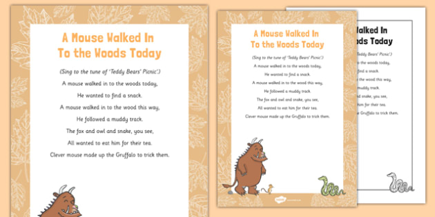 A Mouse Walked in to the Woods Today Song to Support Teaching on The Gruffalo - Julia Donalson, Axel Scheffler, The Gruffalo, The Gruffalo's Child