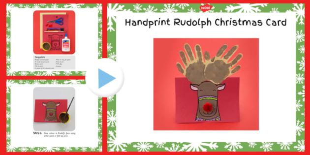 Handprint Rudolph Christmas Card Craft Instructions PowerPoint - handprint, christmas