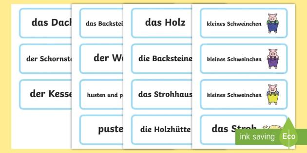 Die Drei Kleinen Schweinchen Wortkarten - Die Drei Kleinen Schweinchen Wortkarten, Die Drei Kleinen Schweinchen, Wortkarten, Märchen Wortkart