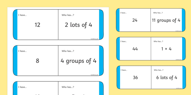 Loop Cards 4 Times Table - loop cards, loop, cards, activity, times table, times tables, 4