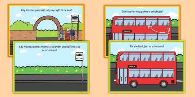 Karty z wyzwaniami Przystanek autobusowy po polsku - role