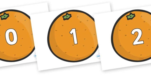Numbers 0-100 on Oranges - 0-100, foundation stage numeracy, Number recognition, Number flashcards, counting, number frieze, Display numbers, number posters
