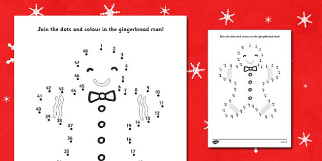 Gingerbread Man Dot to Dot Sheet - dot to dot, dot-to-dot, activity, fun, dot to dot activity, gingerbread man activity, gingerbread man dot to dot, dot to dot gingerbread man, activity sheet, drawing, fine motor skills, counting, numbers