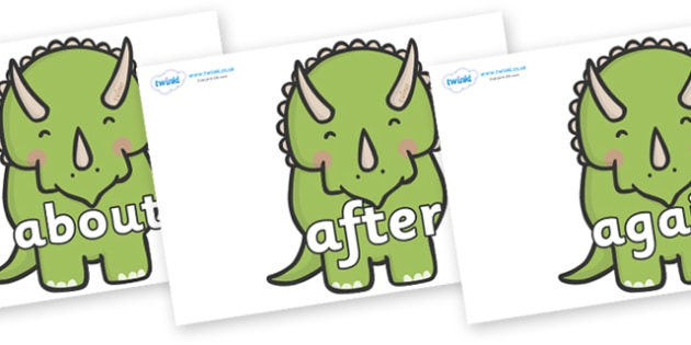 KS1 Keywords on Triceratops Dinosaurs - KS1, CLL, Communication language and literacy, Display, Key words, high frequency words, foundation stage literacy, DfES Letters and Sounds, Letters and Sounds, spelling