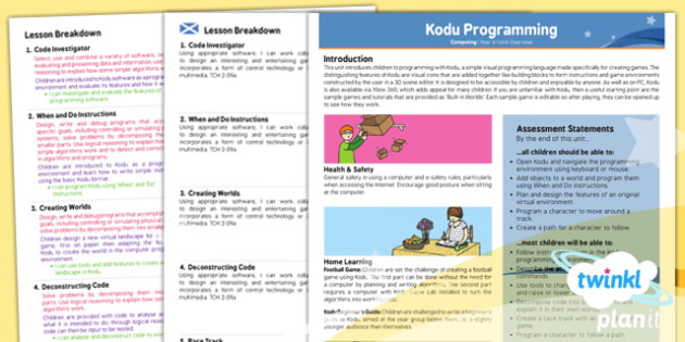 Computing: Kodu Programming Year 6 Planning Overview CfE