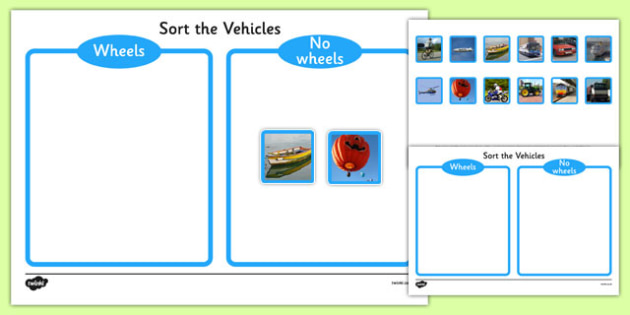 Photo Wheels or No Wheels Sorting Activity - photo, wheel, no wheels, sorting, activity