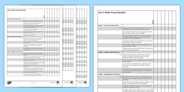 2014 Curriculum Year 5 Maths Assessment Group Checklist - numeracy