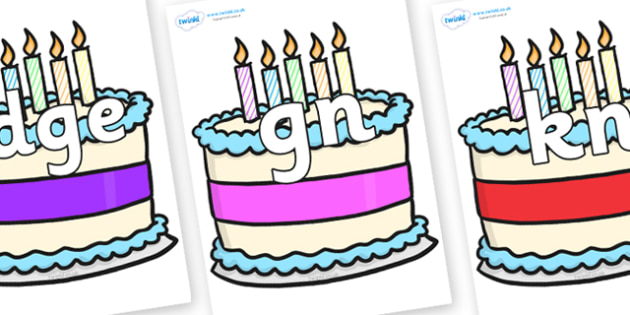 Silent Letters on Birthday Cakes - Silent Letters, silent letter, letter blend, consonant, consonants, digraph, trigraph, A-Z letters, literacy, alphabet, letters, alternative sounds