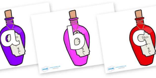 Phoneme Set on Drink Me Bottles - Phoneme set, phonemes, phoneme, Letters and Sounds, DfES, display, Phase 1, Phase 2, Phase 3, Phase 5, Foundation, Literacy